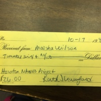 Receipt from Houston NAMES Project in 1995