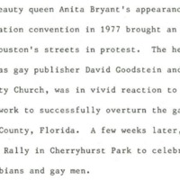 Anita Bryant Statement by Houston Gay Pride Week Committee 1983