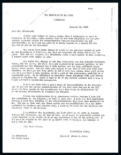 Secretary of Commerce resignation letter · Jesse H. Jones