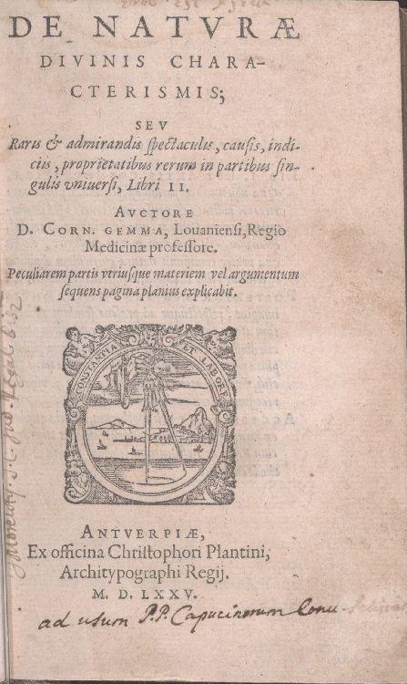 De natvr' divinis characterismis, title page<br />