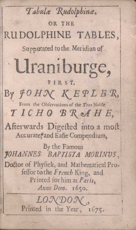 Tabulae Rudolphinae. English, title page<br />