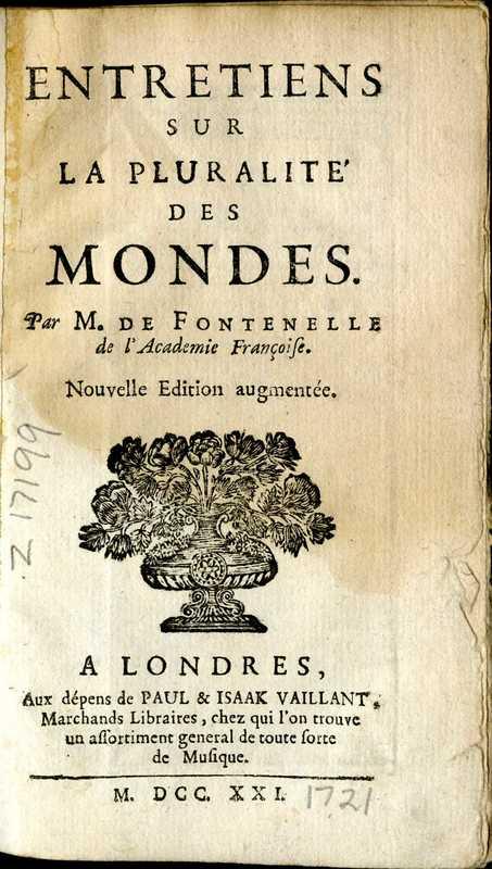 Entretiens sur la pluralit' des mondes,  title page<br />