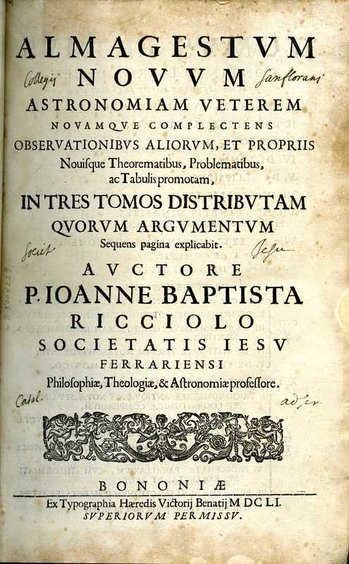 Almagestum novum, title page